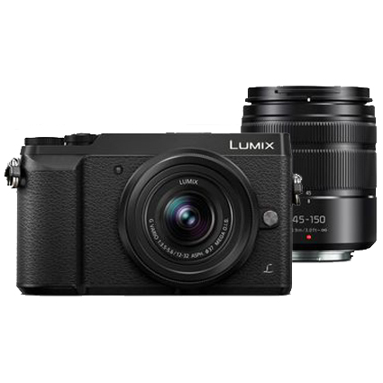 Panasonic Lumix DMC-GX85 Camera with 12-32mm and 45-150mm Lenses (Black)