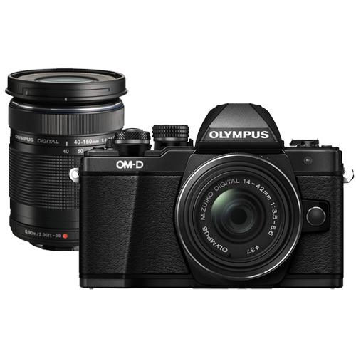 Olympus OM-D E-M10 Mark II 14-42mm and 40-150mm Lenses (Black)