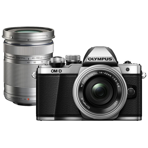 Olympus OM-D E-M10 Mark II Mirrorless Micro Four Thirds with 14-42mm and 40-150mm Lenses Silver