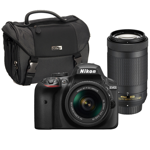 Nikon D3400 DSLR Camera with 18-55mm and 70-300mm Lenses Black + Nikon DSLR Value Pack with Nikon School Online Course